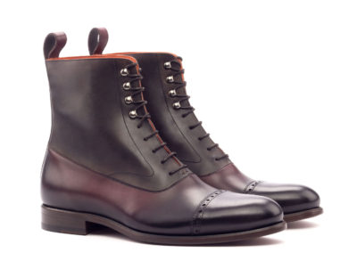Balmoral Boot - Dark Burnishing - painted Calf Burgundy And Dark Brown-Ang5