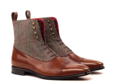 Balmoral Boot - Painted Calf Brown And dark Brown-Small Tweed Brown-Ang5