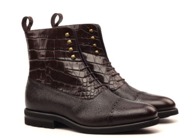 Balmoral Boot - Painted Pebble Grain Dark Brown-Croco Brown-ANG5