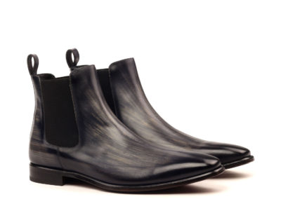 Chelsea Boot Classic - Heavy Patina Grey-Dress Black Welt-Ang5