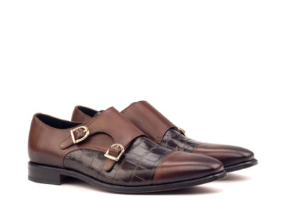 Double Monk - Light Burnishing -Painted Calf Med Brown-Croco Brown-Ang5