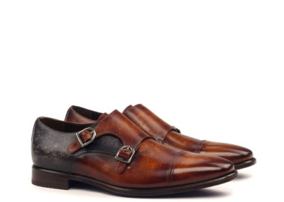 Double Monk - Medium Patina Cognac And Grey-Nailhead Black-Ang5