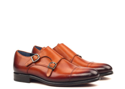 Doublemonk - Painted Calf Cognac-Graphite Buckle-Ang5