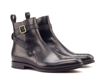 Jodhpur Boot - Polished Calf Black-Faux Croco Black-Ang5