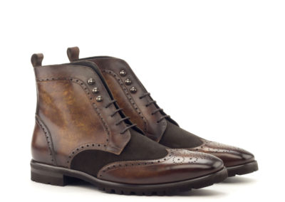 Military Boot - Patina Medium Cognac-Lux Suede Dark Brown-Ang5