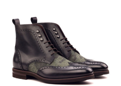 Military Brogue - Black Box Calf-Camo Flannel-Comando Sole_Ang5