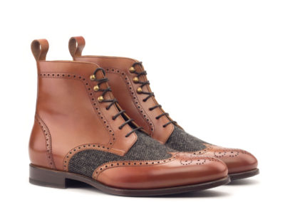 Military Brogue - Polished Calf Cognac-Nailhead Black-Ang5